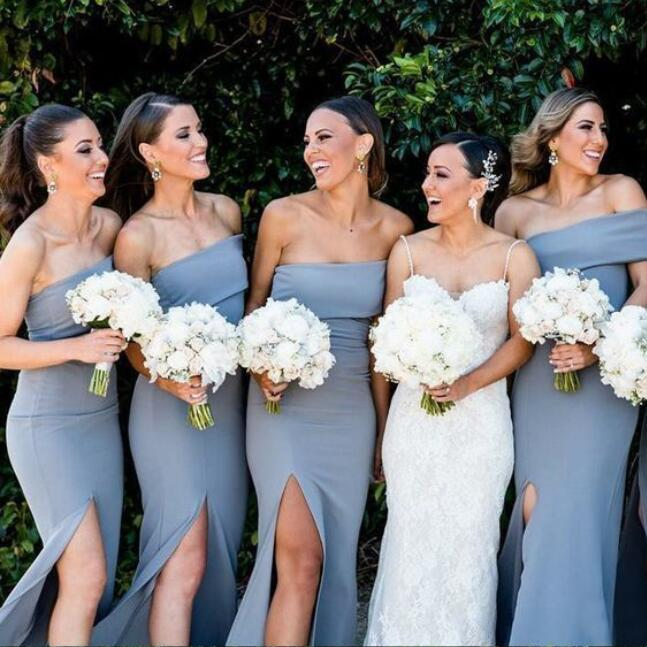 Long Elegant Simple Cheap Modest Mermaid Split Bridesmaid Dresses, wedding guest dress,WG378