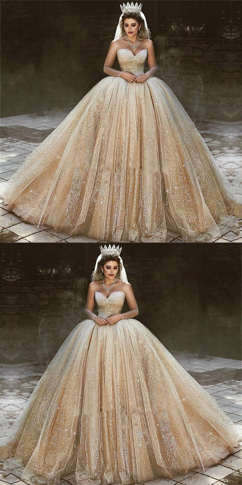 Long Gorgeous Luxury Champagne Gold Wedding Dresses Long Sleeves Sequins Princess Bridal Ball Gown Wd0349