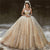 Long Gorgeous Luxury Champagne Gold Wedding Dresses, Long Sleeves Sequins Princess Bridal Ball Gown ,WD0349