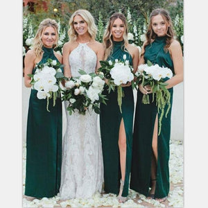 Long High Neck Dark Green Cheap Unique Design  Bridesmaid Dresses with Split , WG394