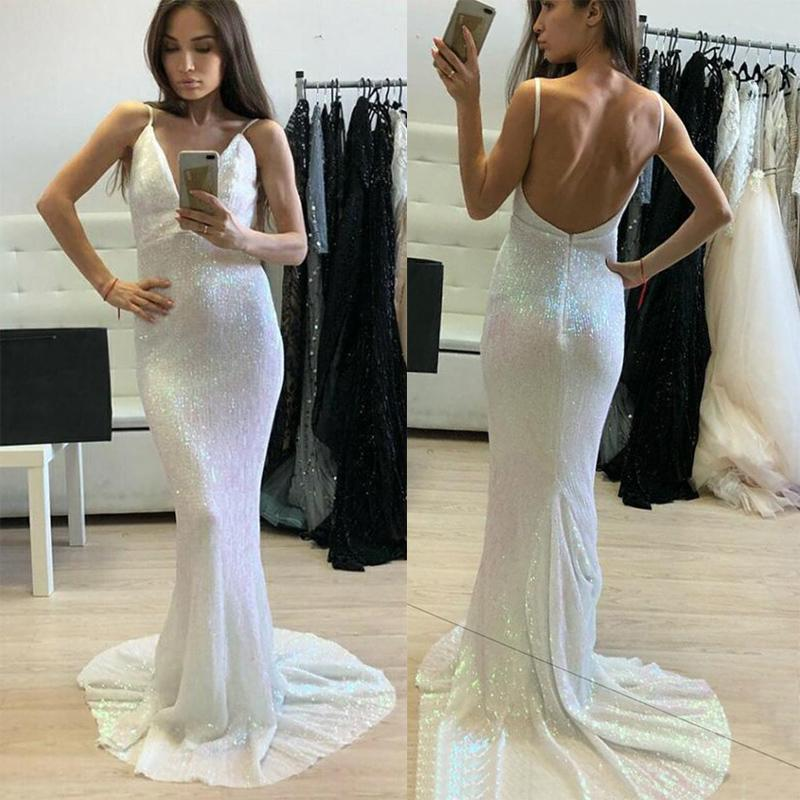 Long Ivory Sparkly ELegant Formal Sheath V-Neck Backless Sweep Train Sequined Prom Dresses, PD1274