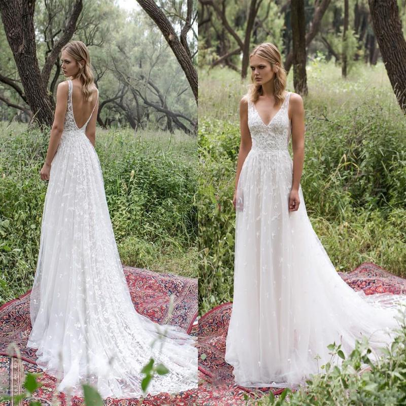 Long Lace V-Neck Vintage Country Bohemian  Beach Simple Soft Wedding Dresses with train ,WD0302