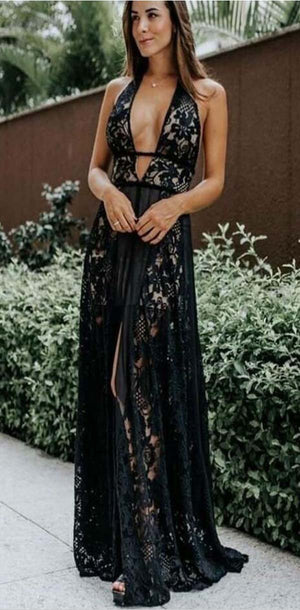 Long Lace  V-neck Elegant Formal Custom Hot Sale Prom Dresses, evenig dress, party dress, PD1081