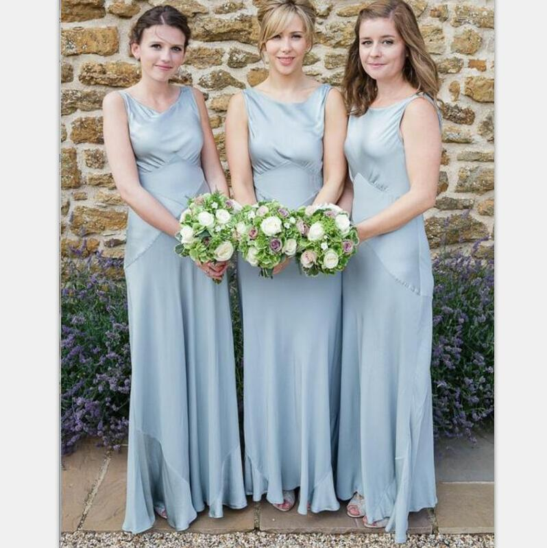 Long Light Blue A-Line Round Neck Sleeveless Elegant Cheap Bridesmaid Dresses, WG393