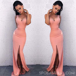 Long Mermaid  One Shoulder Side Split Peach Cheap Formal Prom Dresses, evening dress, PD1165