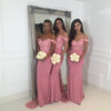 Long Most Popular Off The Shoulder Cheap Bridesmaid Dresses, Sexy Pink Maid of Honor Dresses,WG370