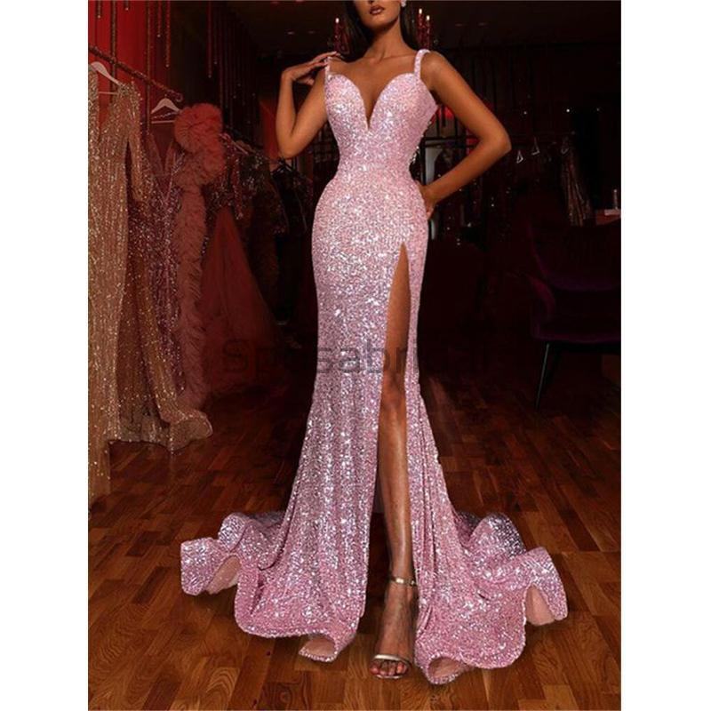 Long Pink Mermaid High Slit Sequin Sparkly Long Prom Dresses,evening dresses PD1593