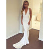 Long Sexy Unique Mermaid V-Neck Criss-Cross Straps Sweep Train White Prom Dress, PD0837