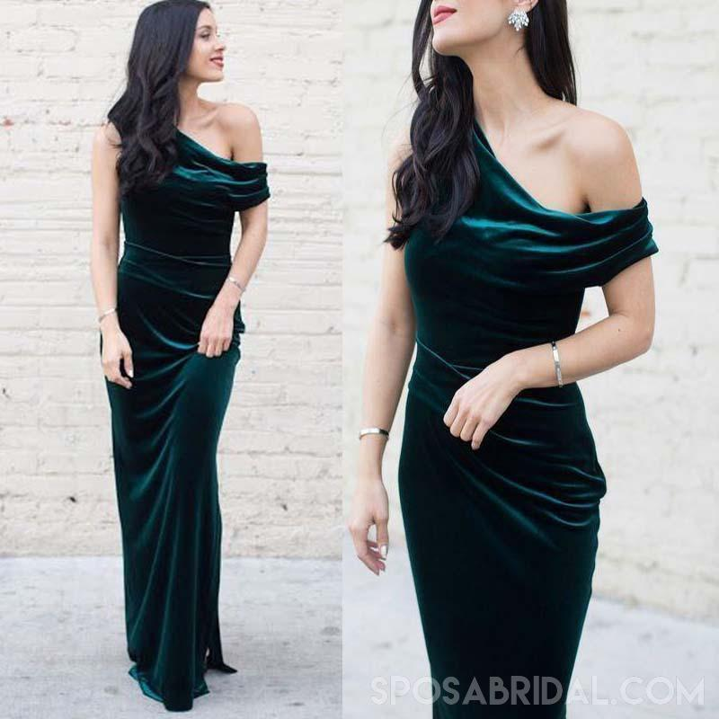 Long Sheath Emerald Green Velvet Mermaid Unique Design Cheap Modest Prom Dresses PD1170
