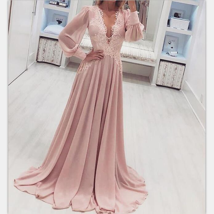 Long Sleeves Chiffon V-Neck Light Pink  Prom Dresses, Beautiful High Quality Party Dress, PD1082