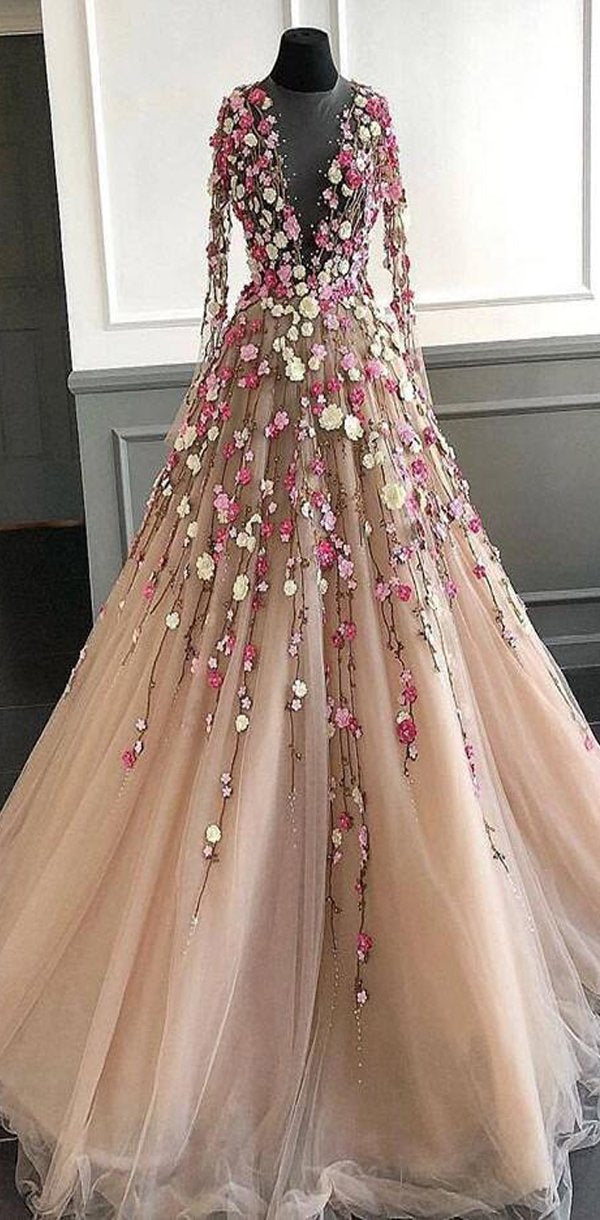 Long Sleeves Flower Appliques Unique Design Popular Fairy Prom Dresses, PD0930