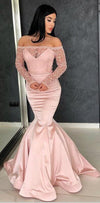 Long Sleeves Pink Mermaid Long prom Dresses,evening dress, party dresses , PD0911