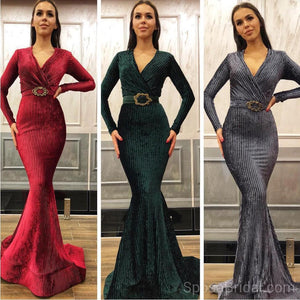 Long Sleeves Red  Grey Royal Blue Mermaid Modest Elegant Formal Prom Dresses, Evening Dresses, PD1215