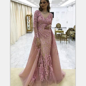 Long Sleeves V-neck Lace Pink Mermaid Elegant Formal Prom Dresses, party dress, PD0985