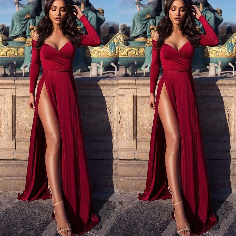 Long Sleeves V Neck Red Side Split Sexy Prom Dresses, Elegant Fashion Cheap Evening Dress, PD1083
