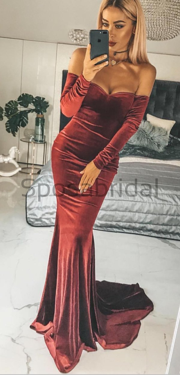 Long Sleeves Velvet New Arrival Popular Mermaid Simple Formal Long Prom Dresses, evening dress PD1598