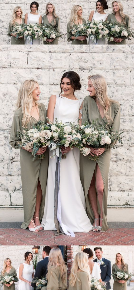 Long Soft Long Sleeves V-Neck Cheap Simple Charming Bridesmaid Dresses with split,WG358