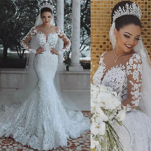 Luxury Beaded Lace Mermaid Wedding Dresses With Long Sleeves Sheer Tulle Appliques Cheap Bride Dresses Wd0340