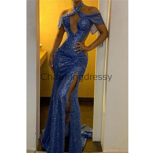 Mermaid Blue Sequin Off the shoulder Halter Sparkly Prom Dresses PD2221