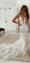 Mermaid Elegant Beach Straps Wedding Dresses, Long Prom Dresses WD0459