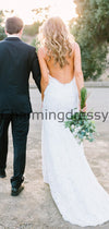 Mermaid Spaghetti Straps Lace Simple Vintage Wedding Dresses WD0487