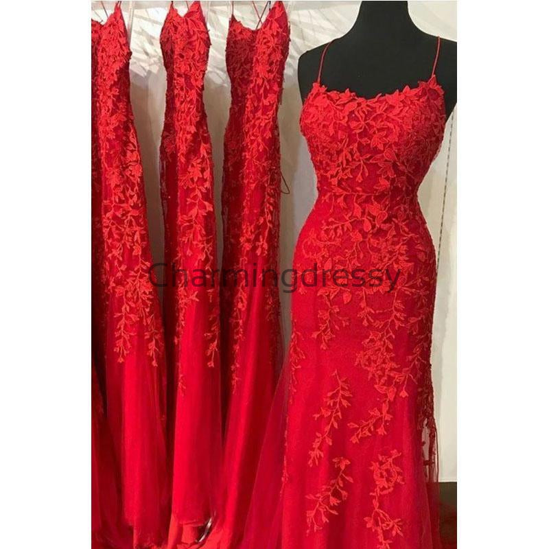 Mermaid Spaghetti Straps Red Lace Long Modest Prom Dresses PD2140