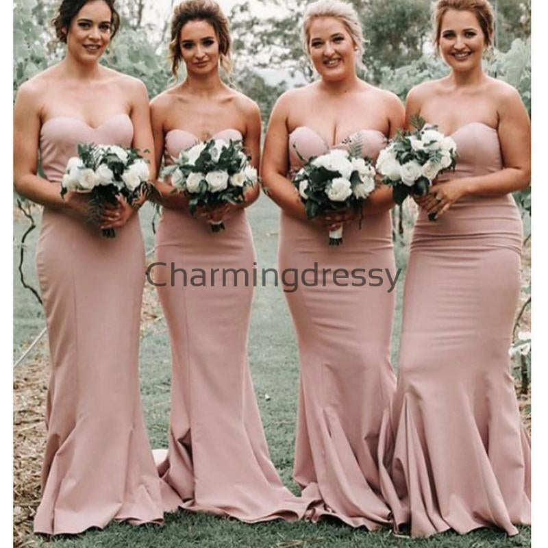 Mermaid Sweetheart Sleeveless Blush Satin Bridesmaid Dresses WG716