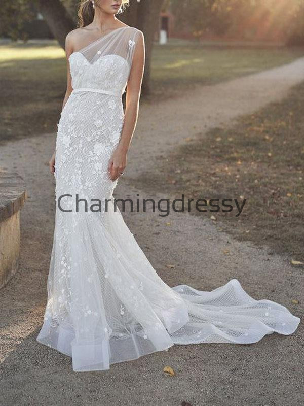 Mermaid Unique One Shoulder Lace Vintage Wedding Dresses WD0489