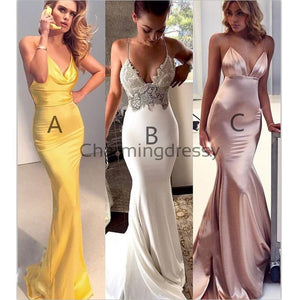 Mermaid Yellow Simple Modest Formal Prom Dresses PD2228