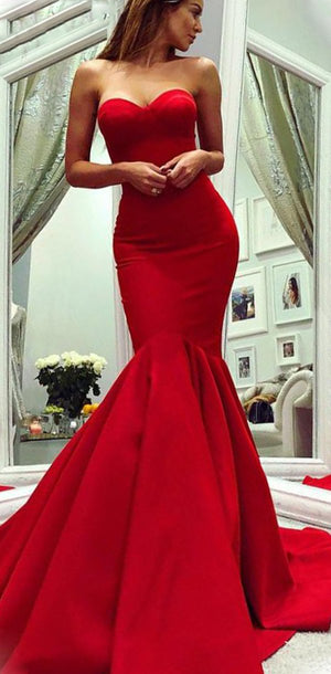 Mermaid Charming Modest Formal Sweetheart Sweep Train Red Satin Lomg Prom Dresses, PD1236