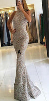 Mermaid High Neck Detachable Lace Elegant Formal Prom Dresses with Sequins, Evening dress,PD1089