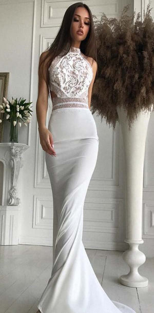 Mermaid High Neck Open Back Sweep Train White Lace Bodice Elegant Modest Prom Dresses,PD1090