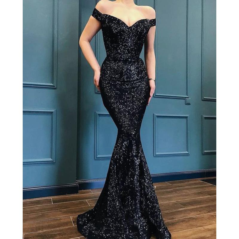 Mermaid  Off the Shoulder Black Sequin Long Modest Simple Elegant Prom Dresses, PD1235