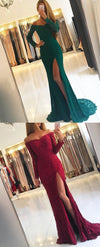 Mermaid Off the Shoulder Split Front Green Lace Prom Dress with Beading, PD0847