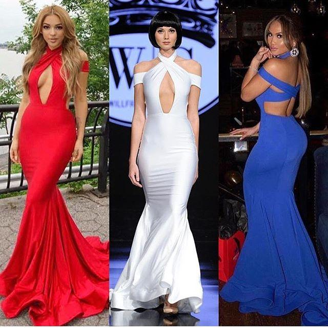 Mermaid Sexy Modest Cheap Charming Yellow Blue Red White Prom Dressess , PD0897