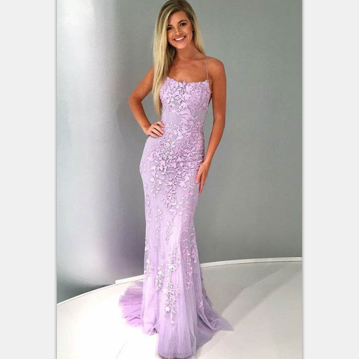 Mermaid Spaghetti Straps , Lilac Tulle Prom, Evening Dress with Appliques, PD0841
