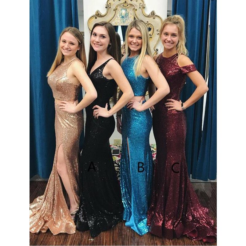 3b61b2ac4d454 Mermaid Style V-Neck Sweep Train Black Blue Sparkly Sequined Elegant Long Prom  Dresses