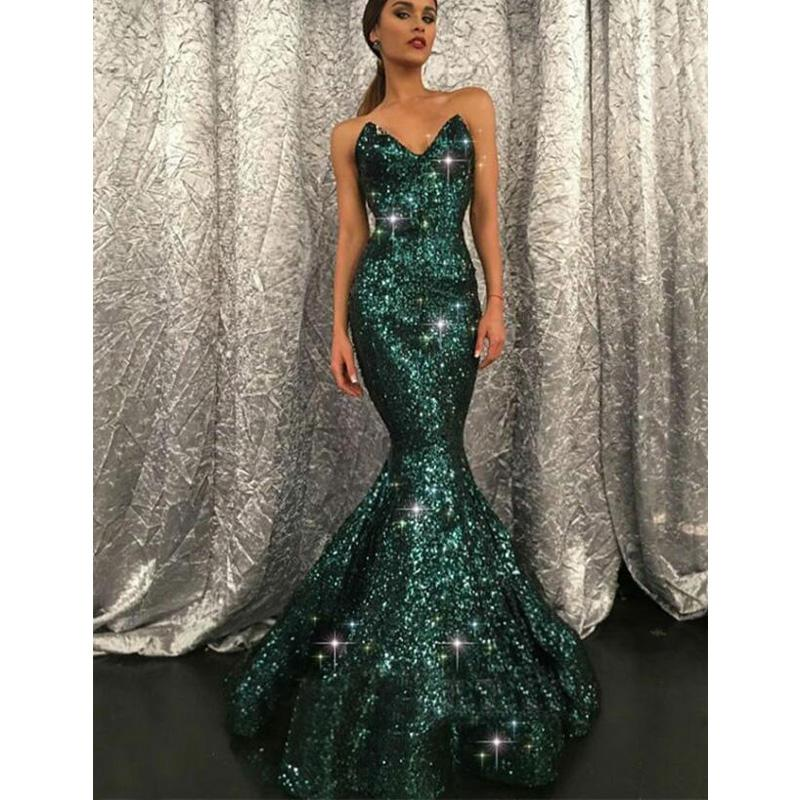 0253882cbc Mermaid Sweetheart Sweep Train Green Sequined Sparkly Stunning Long Prom  Dresses