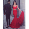 Mermaid Sweetheart Sweep Train Keyhole Cut Out Red Stretch Satin Prom Dresses, Elegant Evening Dress, PD1091
