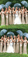 Charming Sequin Mermaid V-Neck Sparkly Gorgeous Short Long Romantic Bridesmaid Dresses, WG130