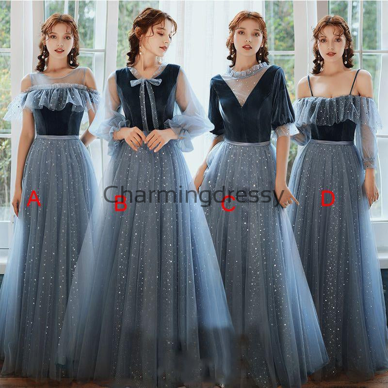 Mismatched A-line Unique Simple Cheap Long Bridesmaid Dresses WG720