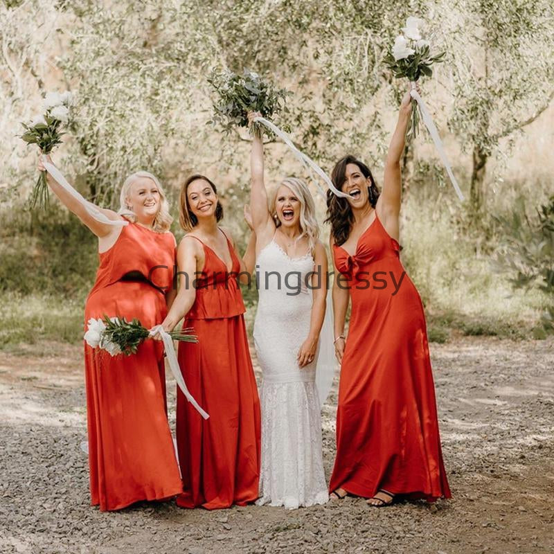 Mismatched Burnt Orange Simple Cheap Long Bridesmaid Dresses WG721
