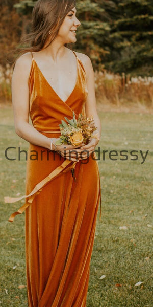 Mismatched Burnt Orange Velvet Popular Long Bridesmaid Dresses WG722