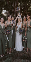 Mismatched Green Simple Cheap Long Bridesmaid Dresses WG723