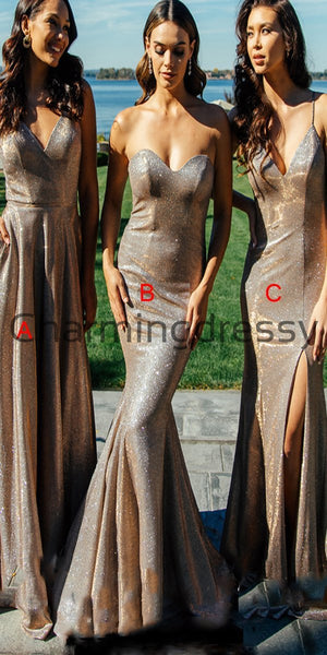 Mismatched Spackely Shinning Long Elegant Bridesmaid Dresses WG718