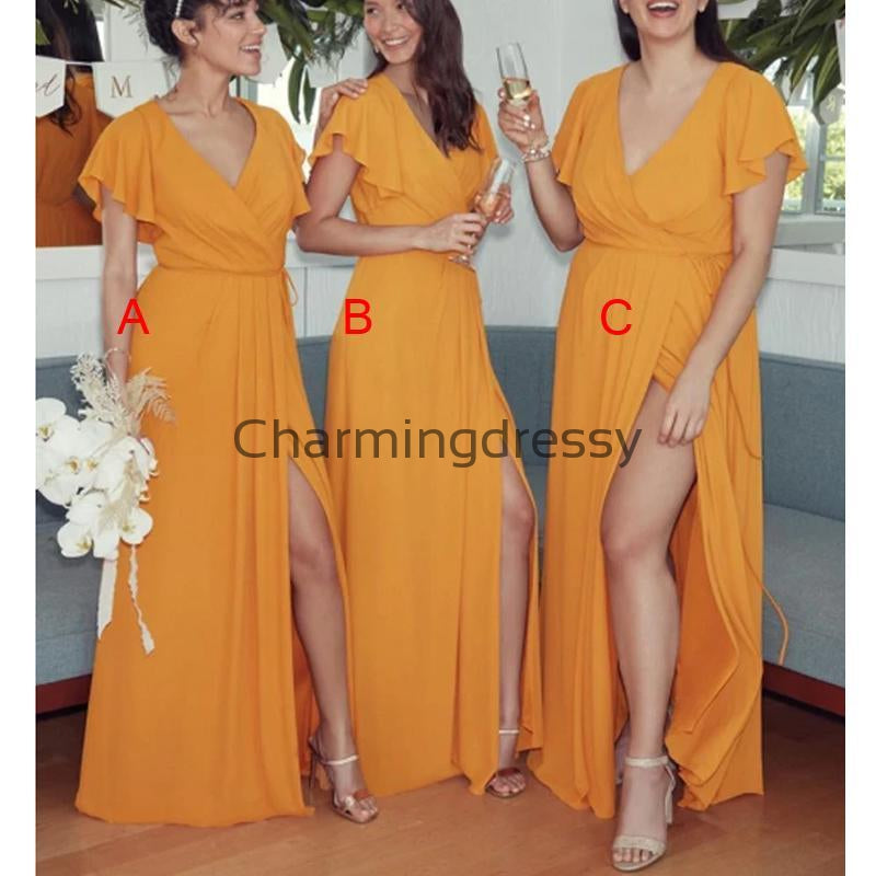 Mismatched Yellow Chiffon Simple Cheap Long Bridesmaid Dresses WG719