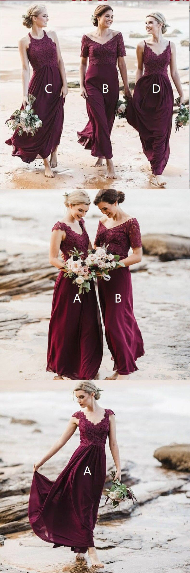 Mismatched A-Line Long Burgundy Cheap Chiffon Modest Bridesmaid Dress with Lace for Wedding guest,WG353