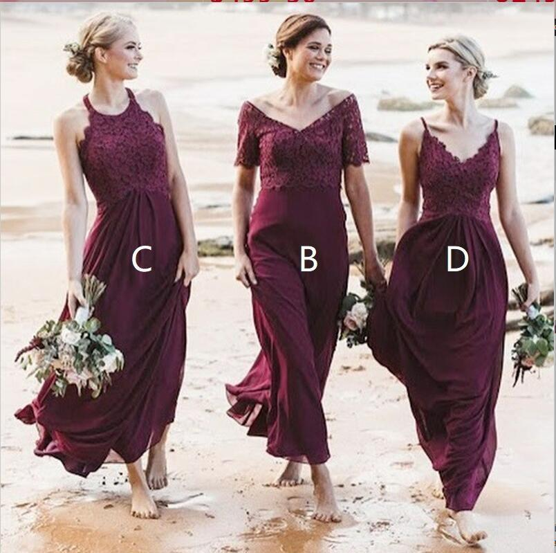 4c5d0e78be Mismatched A-Line Long Burgundy Cheap Chiffon Modest Bridesmaid Dress with  Lace for Wedding guest