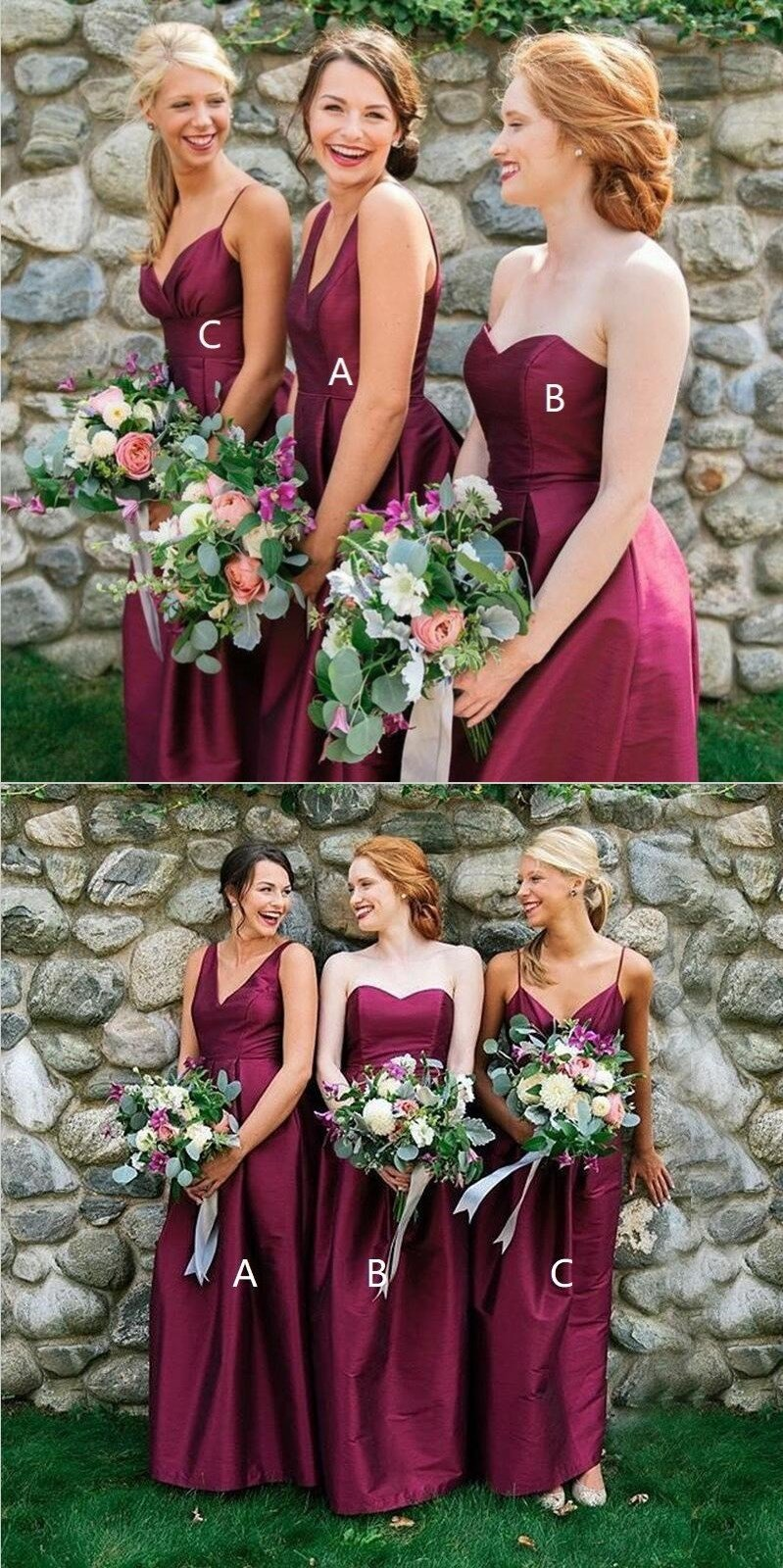 Mismatched A-Line Elegant Floor-Length  Modest Sexy Unique Summer Simple Soft Bridesmaid Dresses, WG287