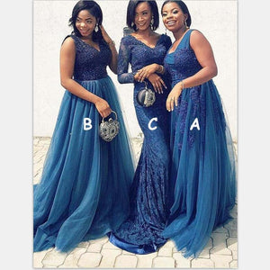 Mismatched Long Blue Elegant  Modest Bridesmaid Dresses with Appliques Beading ,WG392